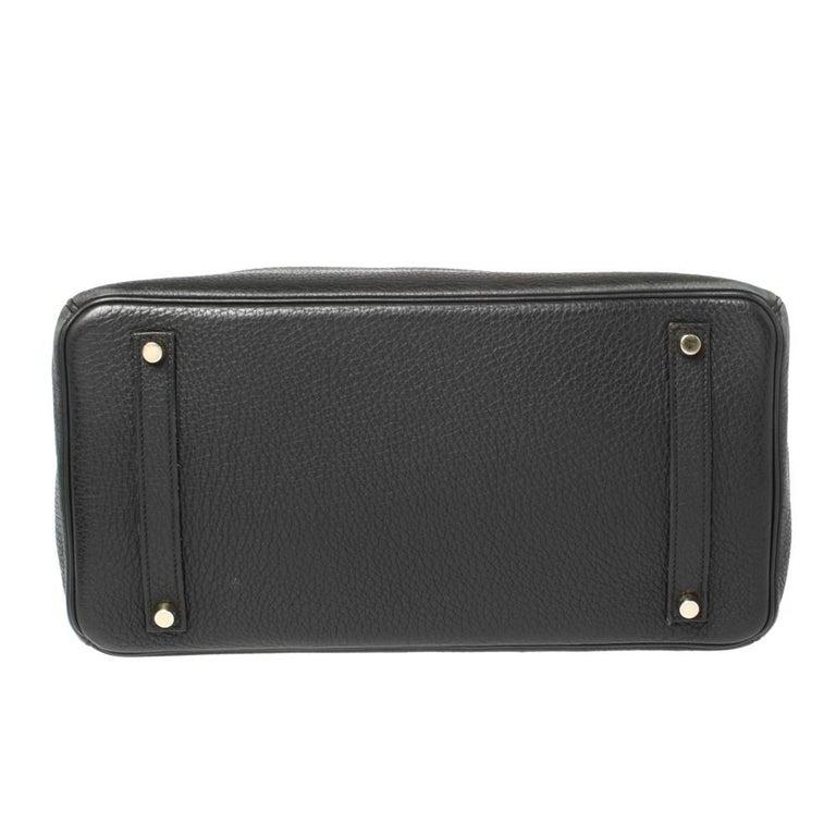 Hermes Black Clemence Leather Gold Hardware Birkin 35 Bag For Sale 1