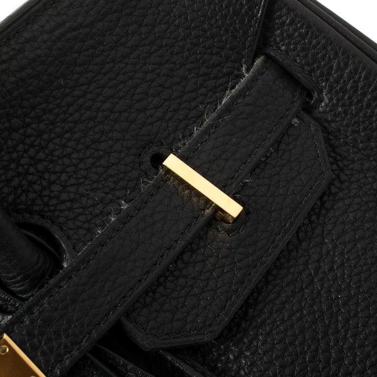 Hermes Black Clemence Leather Gold Hardware Birkin 35 Bag For Sale 2