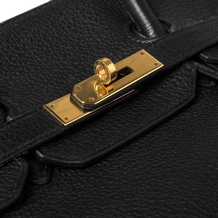 Hermes Black Clemence Leather Gold Hardware Birkin 35 Bag For Sale 3