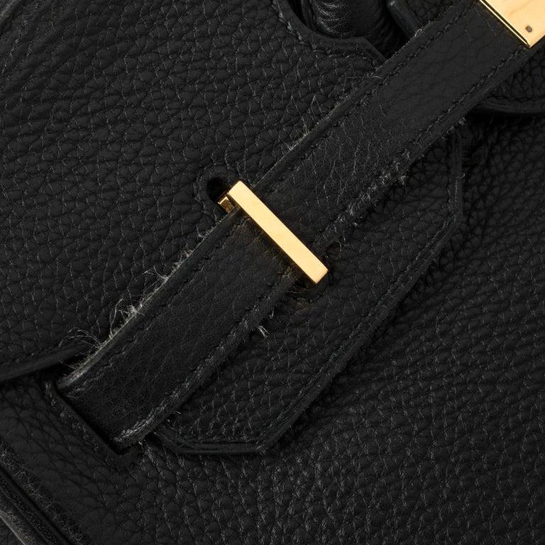 Hermes Black Clemence Leather Gold Hardware Birkin 35 Bag For Sale 4