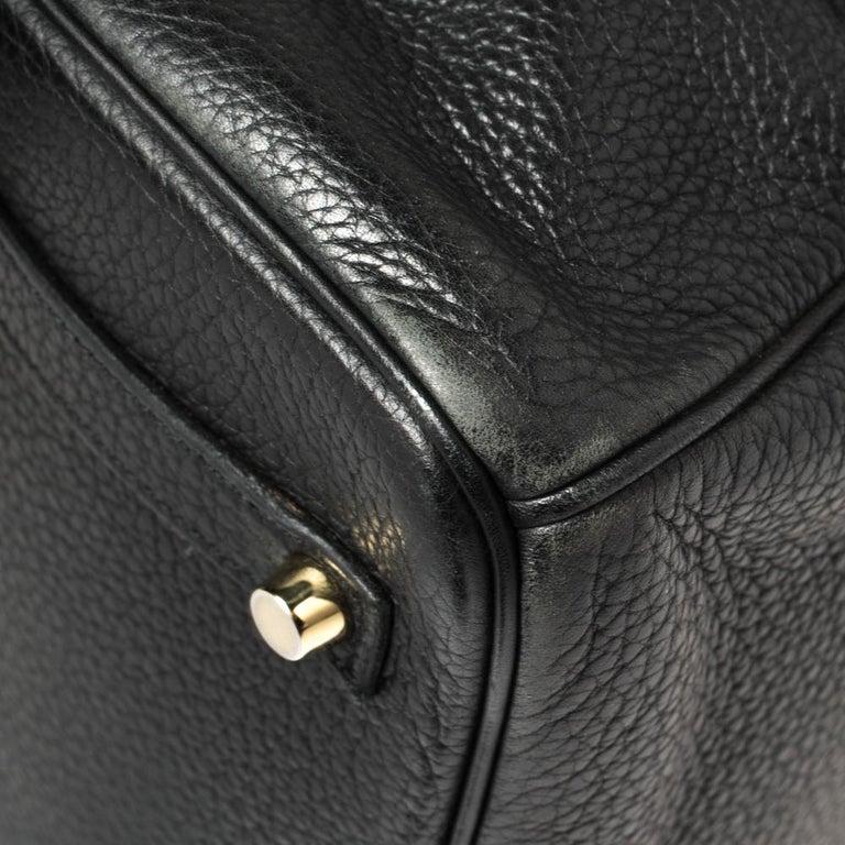 Hermes Black Clemence Leather Gold Hardware Birkin 35 Bag For Sale 5