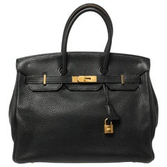 Hermes Black Clemence Leather Gold Hardware Birkin 35 Bag