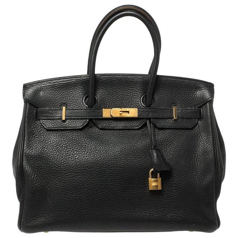 Hermes Black Clemence Leather Gold Hardware Birkin 35 Bag For Sale