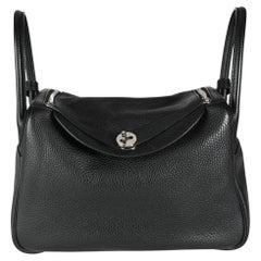 Hermès Black Clémence Leather Lindy 30 PHW