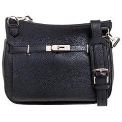 Hermes Black Clemence Leather Palladium Hardware Jypsiere 28 Bag