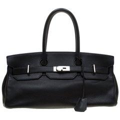 Hermes Black Clemence Leather Palladium Hardware Shoulder Birkin 42 Bag