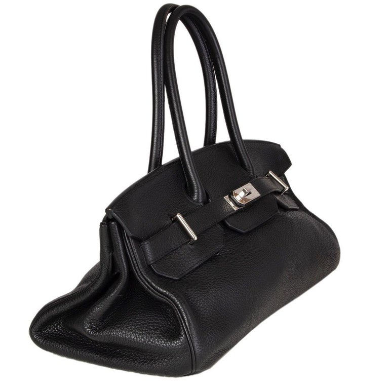Hermes 'JPG I Shoulder Birkin' bag in black Taurillon Clemence leather with Palladium hardware. Lined in Chevre (goat skin). Has been carried and is in excellent condition. Comes with keys, lock and clochette.  Height 17cm (6.6in) Width 43cm