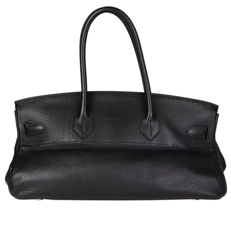 Black HERMES black Clemence leather & Palladium JPG I SHOULDER BIRKIN Bag For Sale