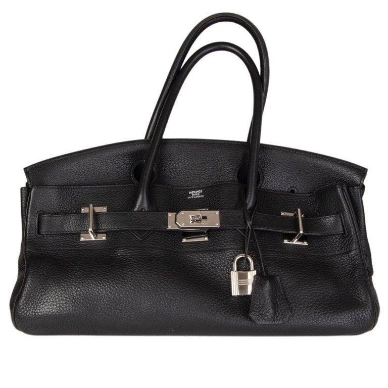 Women's HERMES black Clemence leather & Palladium JPG I SHOULDER BIRKIN Bag For Sale