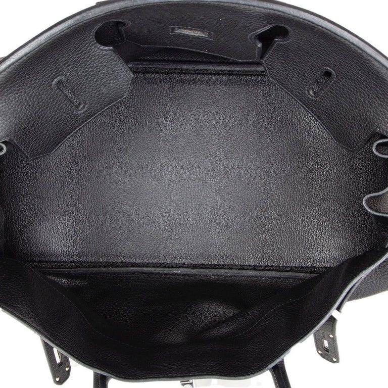 HERMES black Clemence leather & Palladium JPG I SHOULDER BIRKIN Bag For Sale 1