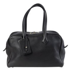 HERMES black Clemence leather VICTORIA FOURRE-TOUT 35 Shoulder Bag