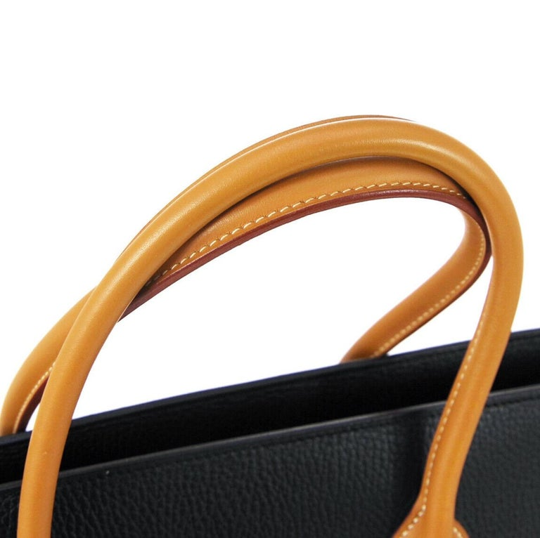 Hermes Black Cognac Leather Gold Large Carryall Men's Travel Top Handle Tote Bag In Good Condition For Sale In Chicago, IL