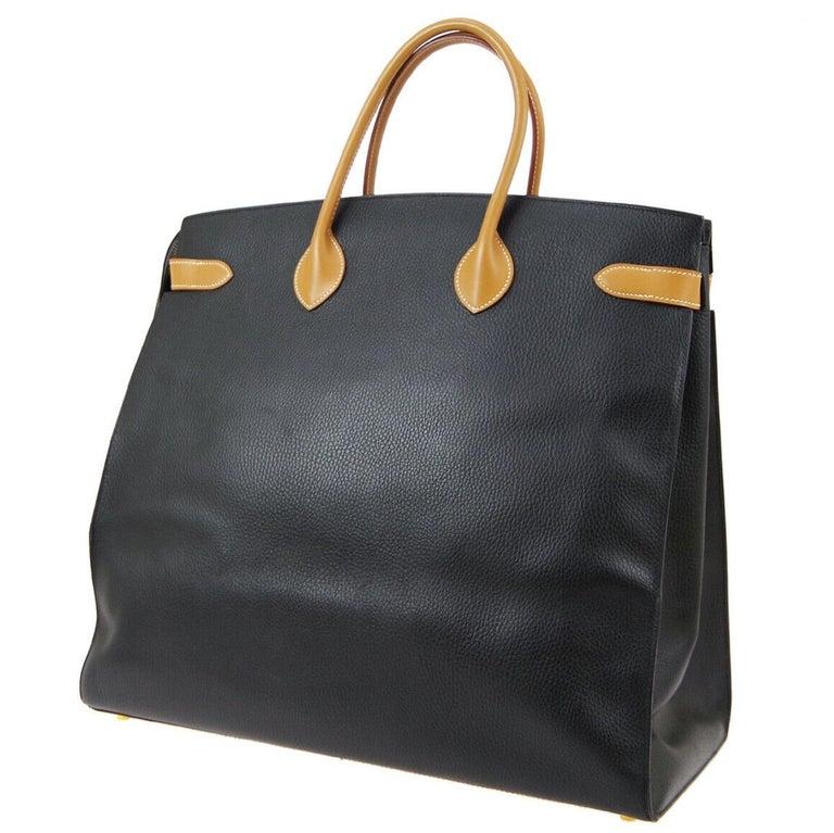 Hermes Black Cognac Leather Gold Large Carryall Men's Travel Top Handle Tote Bag For Sale 1