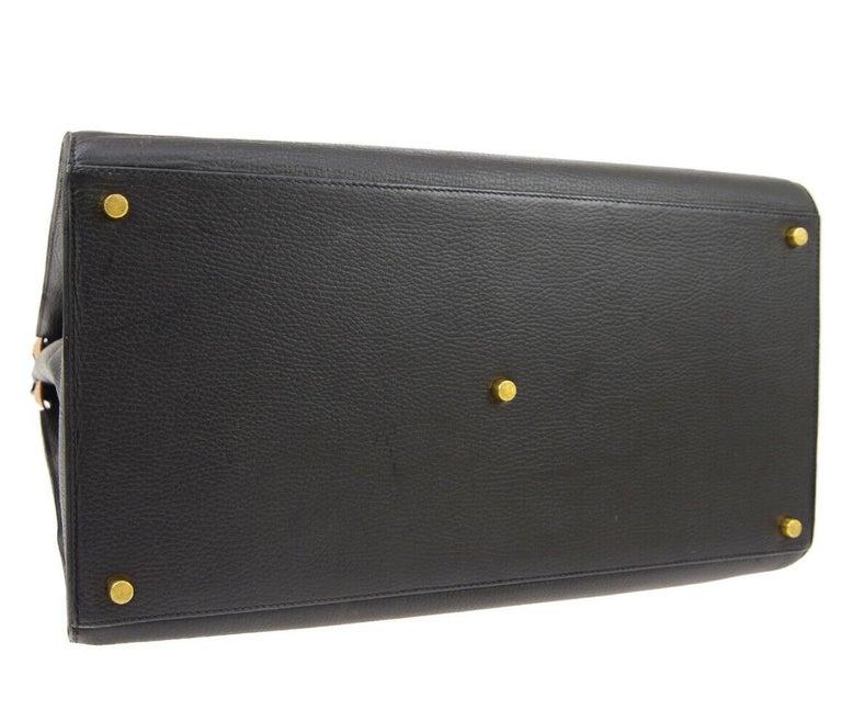 Hermes Black Cognac Leather Gold Large Carryall Men's Travel Top Handle Tote Bag For Sale 2