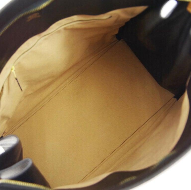 Hermes Black Cognac Leather Gold Large Carryall Men's Travel Top Handle Tote Bag For Sale 3