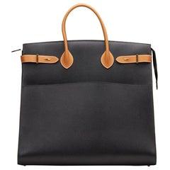 Hermes Black Cognac Leather Gold Large Carryall Men's Travel Top Handle Tote Bag
