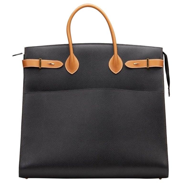 Hermes Black Cognac Leather Gold Large Carryall Men's Travel Top Handle Tote Bag For Sale
