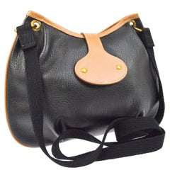 Hermes Black Cognac Leather Hobo Style Shoulder Crossbody Saddle Bag