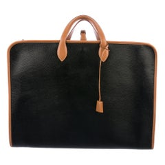 Hermes Black Cognac Leather Men's Women's Carryall Top Handle Travel Tote Bag