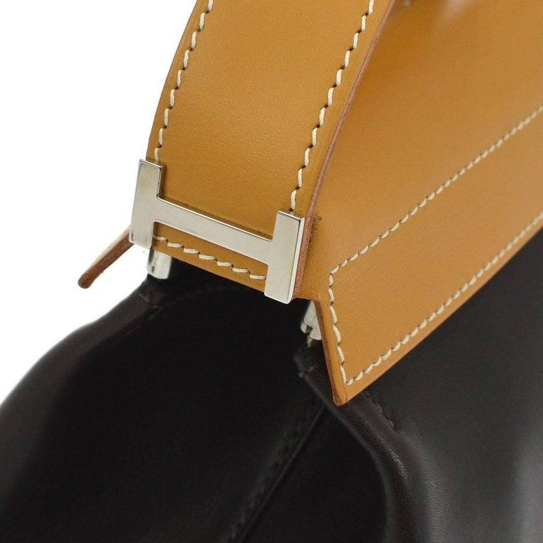 Hermes Black Cognac Leather Palladium 'H' Top Handle Evening Shoulder Bag  Leather Palladium hardware Zipper closure  Made in France Measures 12.5