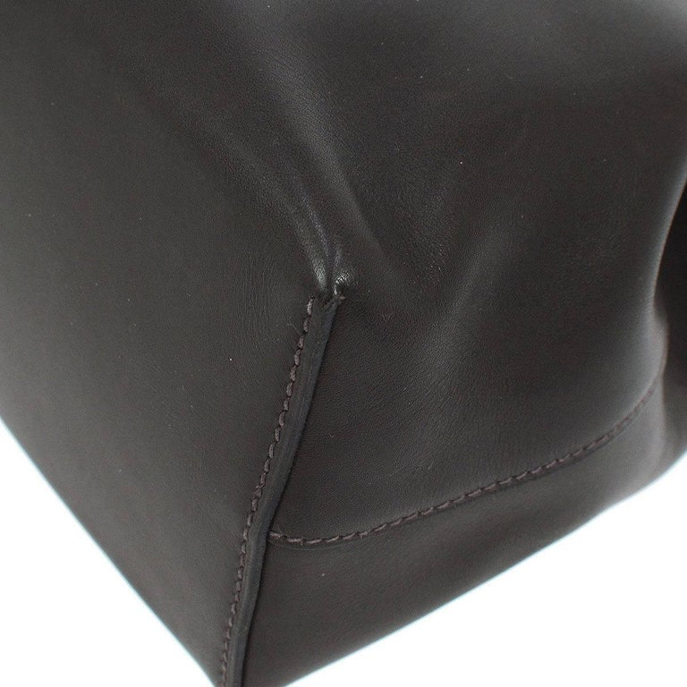 Women's Hermes Black Cognac Leather Palladium