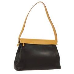 "Hermes Black Cognac Leather Palladium ""H"" Top Handle Evening Shoulder Bag"