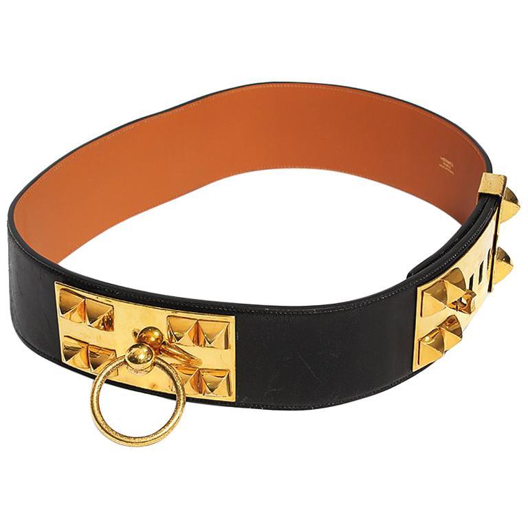 """Hermès Black """"Collier de Chien"""" Belt, 1960s For Sale"""