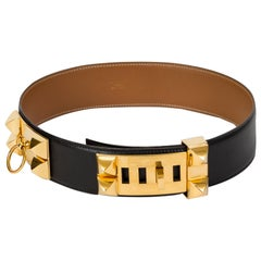 Hermès Black Collier de Chien Belt 85 cm in Box