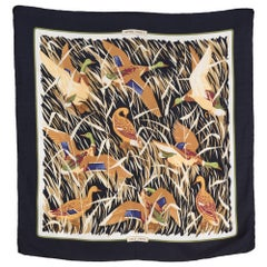 Hermes Black Cols Verts by Christiane Vauzelles Silk Scarf
