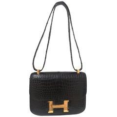 Hermès Black Constance Crocodile