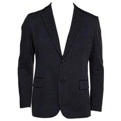 Hermes Black Cotton Leather Trim Two Buttoned Jacket L