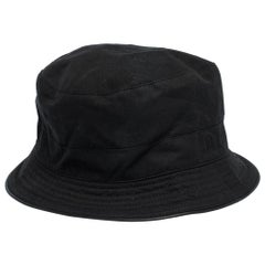 Hermes Black Cotton & Linen Bucket Hat Size 56