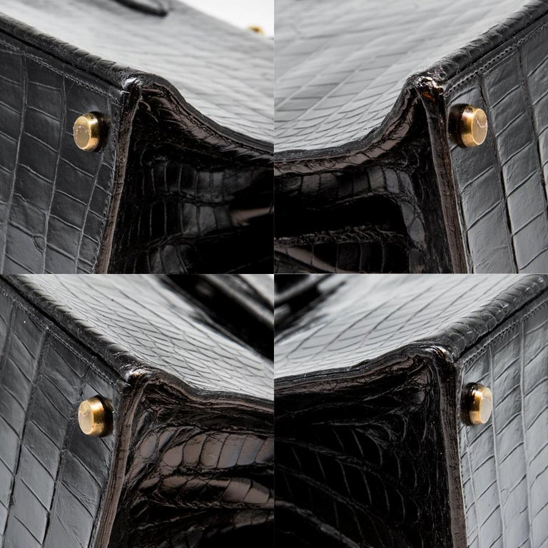 Hermès Black Crocodile 28cm Kelly Sellier Bag For Sale 6