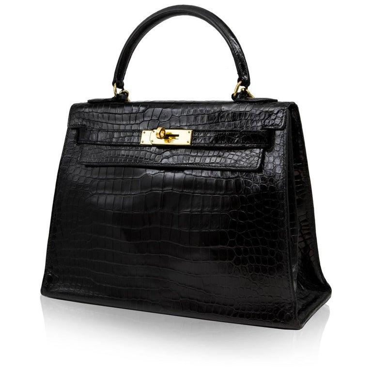 Hermès Black Crocodile 28cm Kelly Sellier Bag In Good Condition For Sale In London, GB