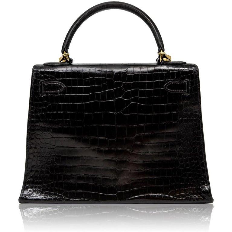 Women's Hermès Black Crocodile 28cm Kelly Sellier Bag For Sale