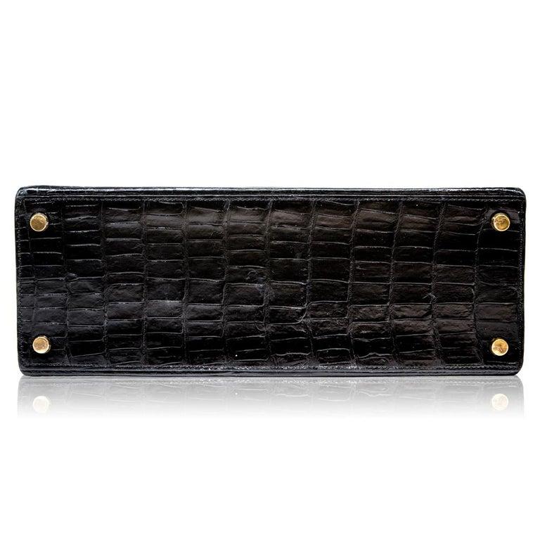 Hermès Black Crocodile 28cm Kelly Sellier Bag For Sale 1
