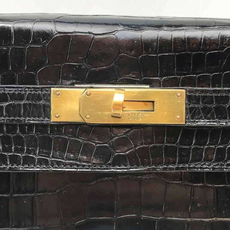 Hermès Black Crocodile 28cm Kelly Sellier Bag For Sale 2
