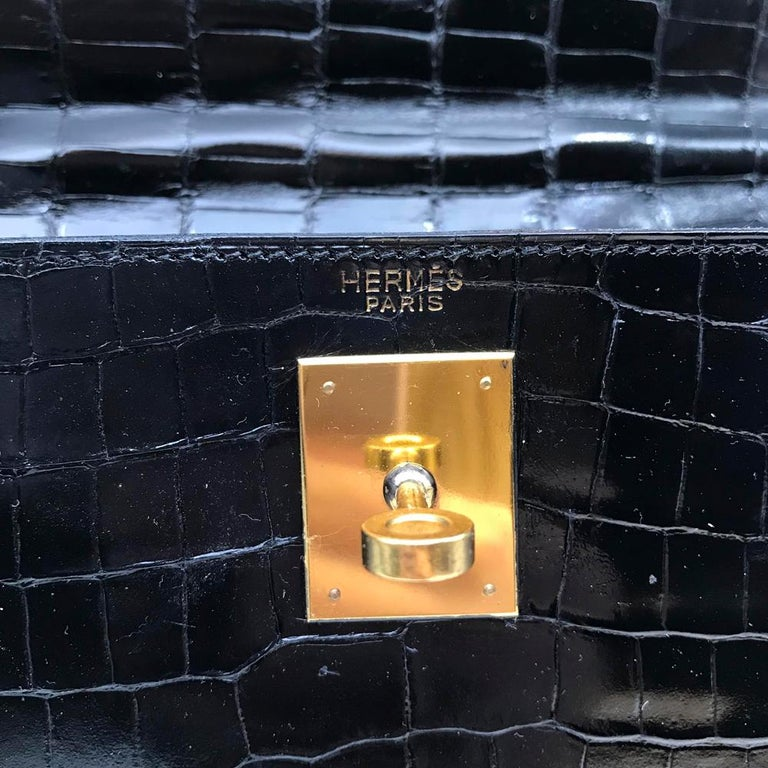 Hermès Black Crocodile 28cm Kelly Sellier Bag For Sale 3