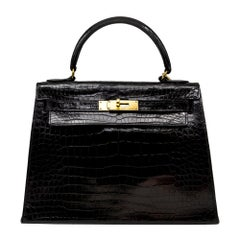 Hermès Black Crocodile 28cm Kelly Sellier Bag