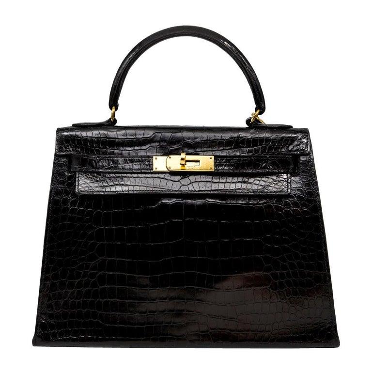 Hermès Black Crocodile 28cm Kelly Sellier Bag For Sale