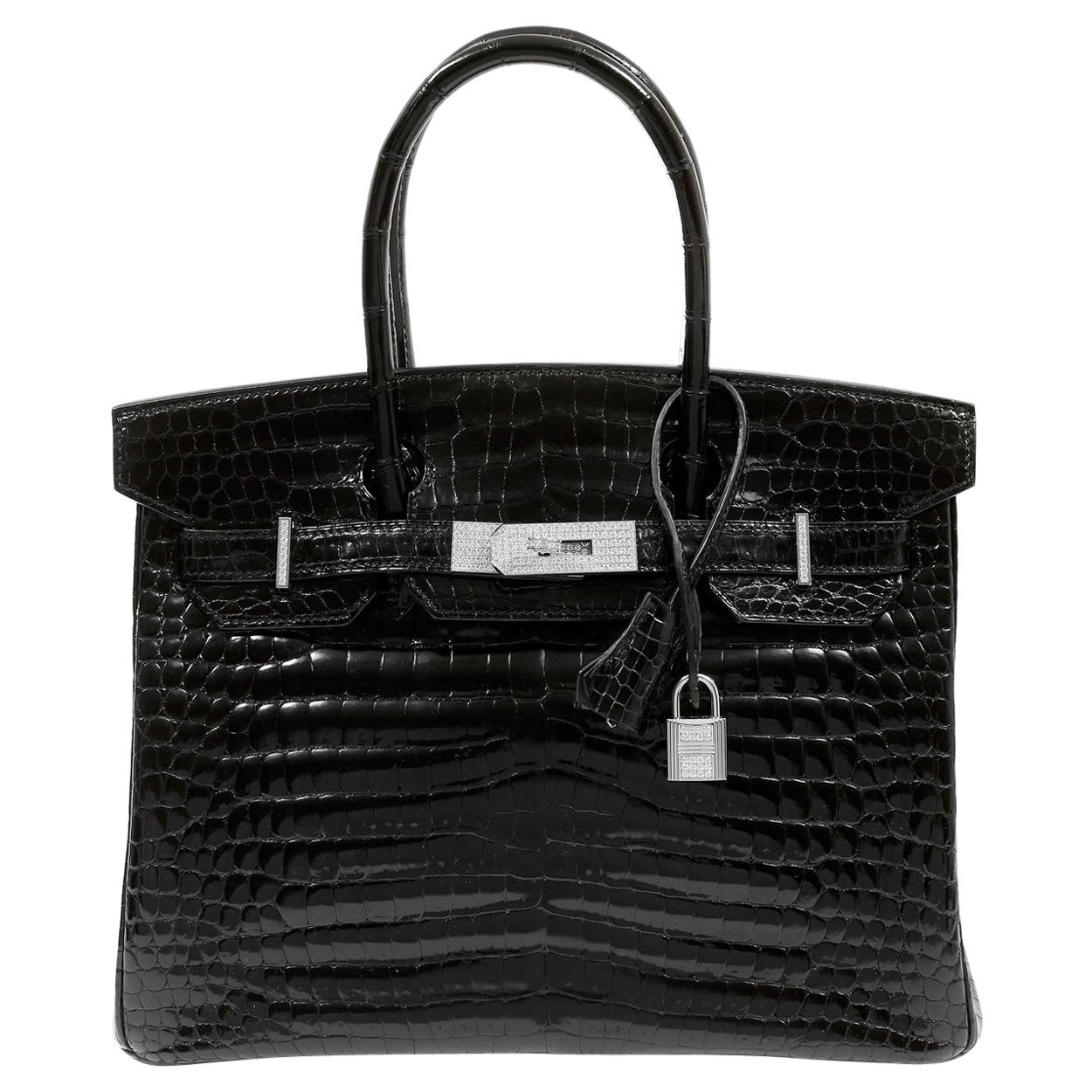 Hermès Black Crocodile 30 cm Diamond Encrusted Birkin Bag