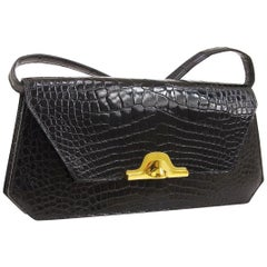 Hermes Black Crocodile Alligator Exotic Gold 2 in 1 Clutch Shoulder Flap Bag