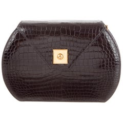 Hermes Black Crocodile Exotic Leather Gold Small Mini Evening Clutch Flap Bag