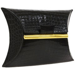 Hermes Black Crocodile Exotic Leather Gold Small Party Evening Hand Bag