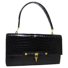 Hermes Black Crocodile Exotic Leather Gold Top Handle Satchel Kelly Flap Bag