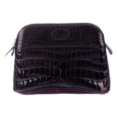 Hermes Black Crocodile Exotic Leather Small Evening Mini Pochette Clutch Bag