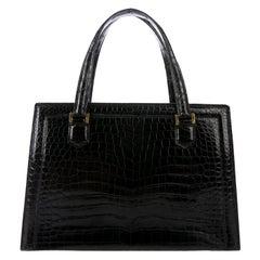 Hermes Black Crocodile Gold Kelly Style Top Handle Satchel Evening Flap Bag