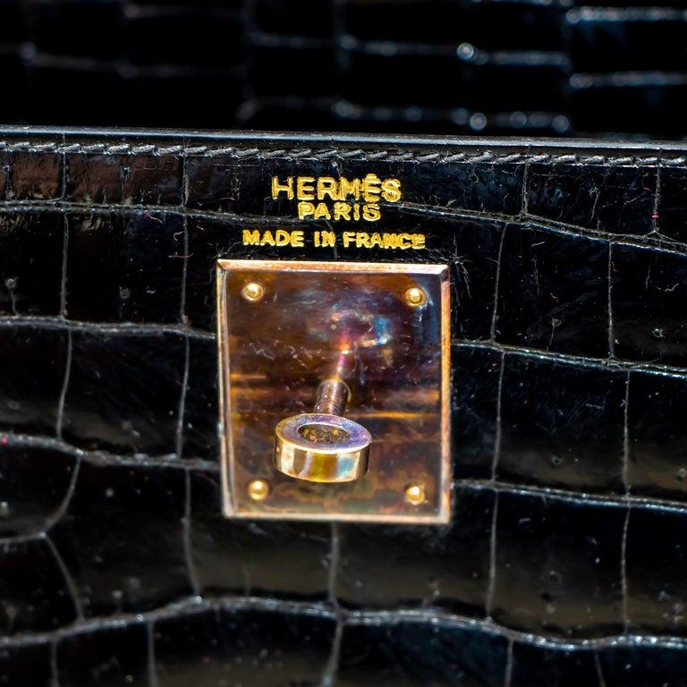 Hermes Black Crocodile Kelly Handbag In Excellent Condition For Sale In Rancho Santa Fe, CA