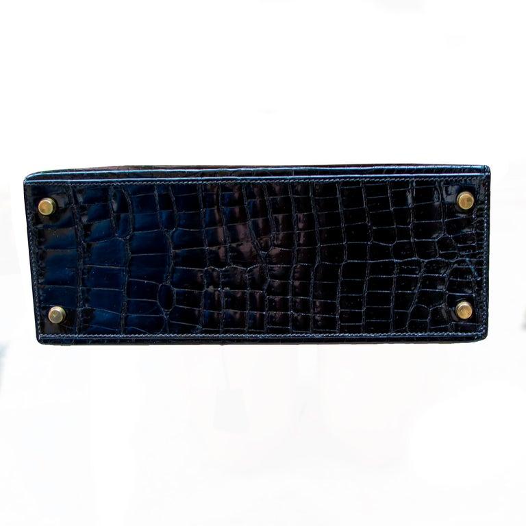 Hermes Black Crocodile Kelly Handbag For Sale 2