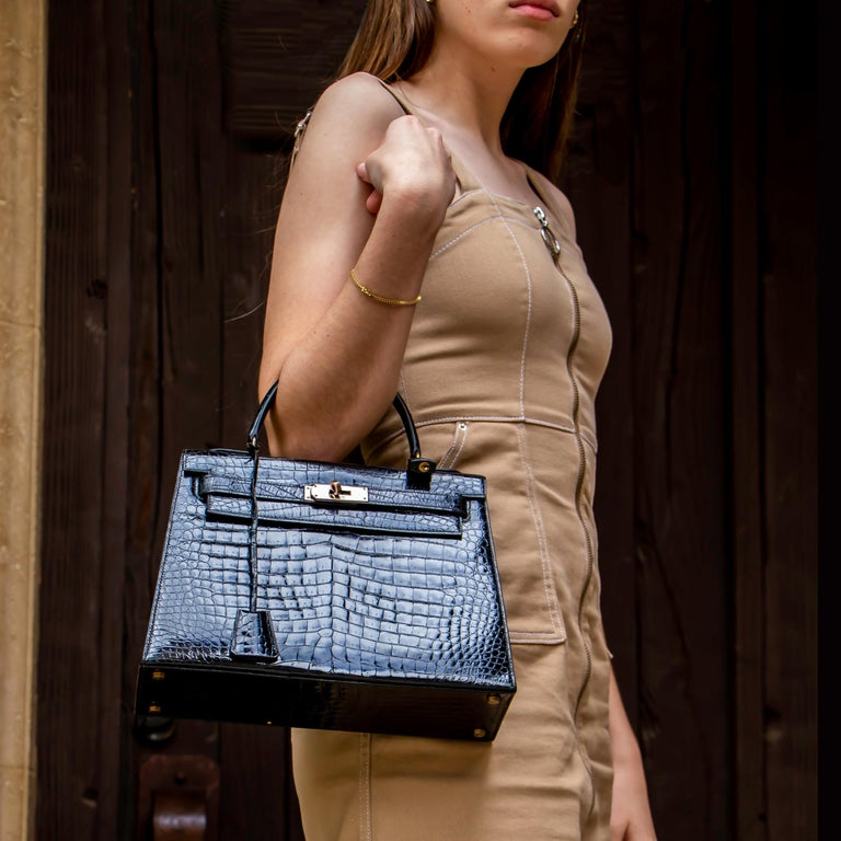 Hermes Black Crocodile Kelly Handbag For Sale 3